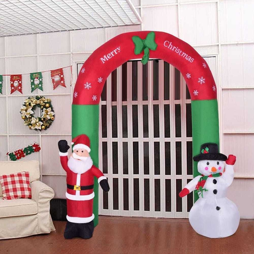 christmas inflatable outdoor archway 82 snowman and santa claus decoration - Christmas Arch Decorations