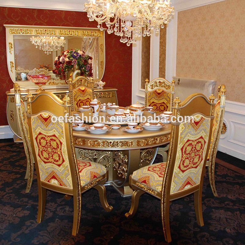Oe Fashion Wholesale Luxury Gold Color Restaurant Round Wood