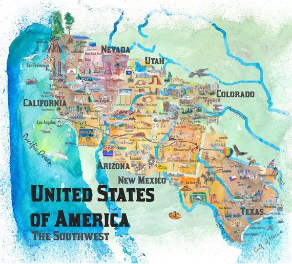 USA Southwest States Travel Poster Map - Dreaming of Arizona, Utah ...