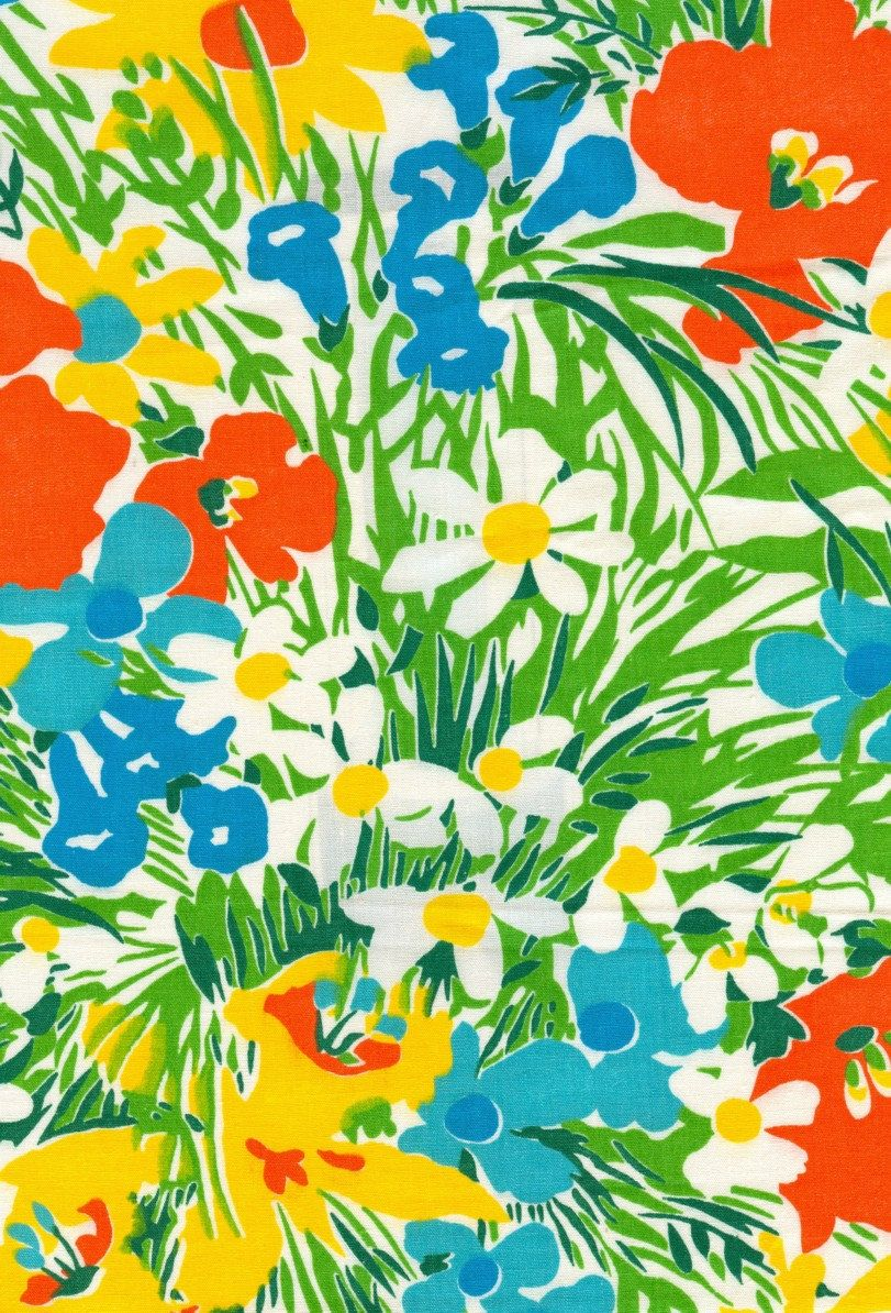 70s Floral pattern, bright colours, flower shapes, so ...
