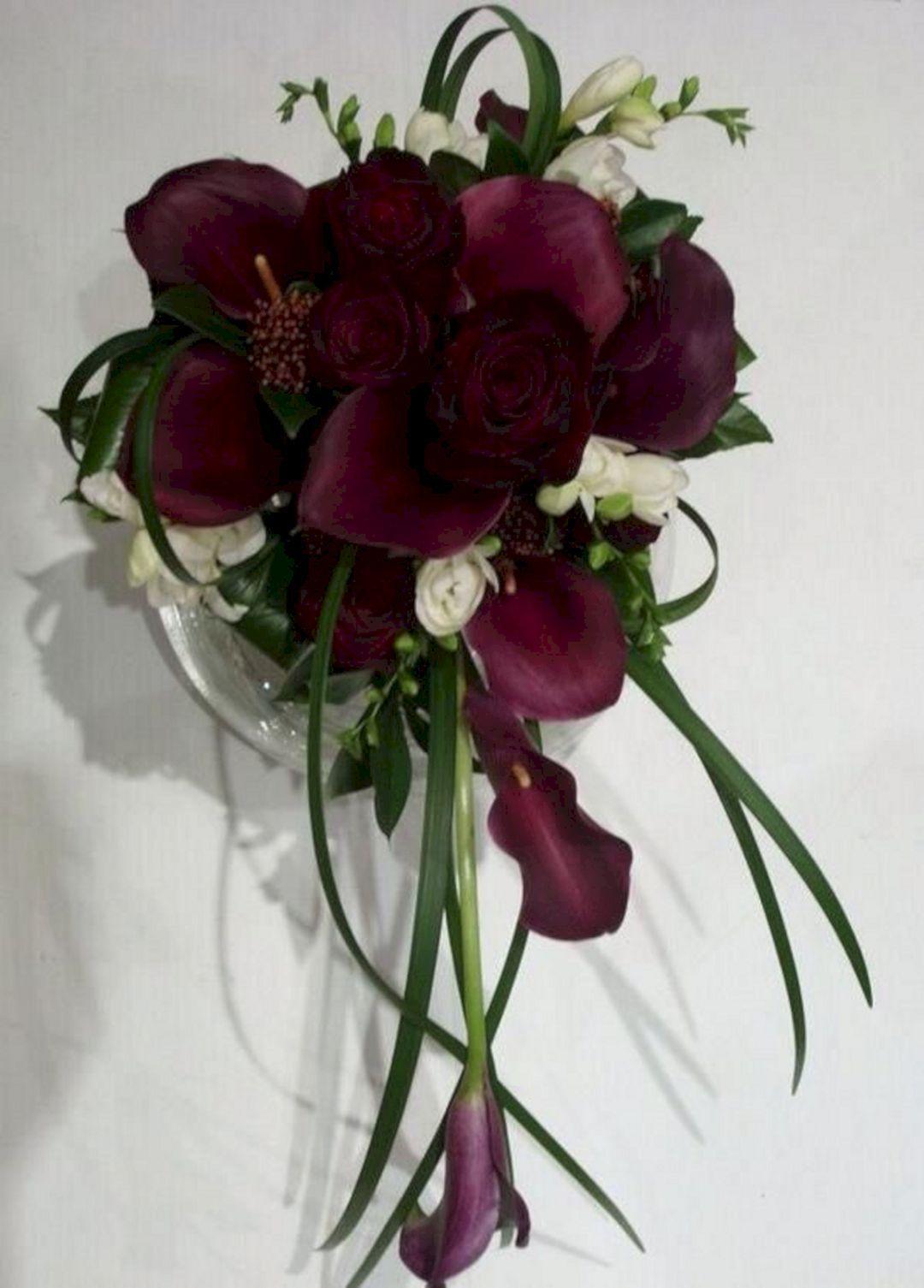 Burgundy Calla Lily Wedding Bouquet Ideas 23 wedding