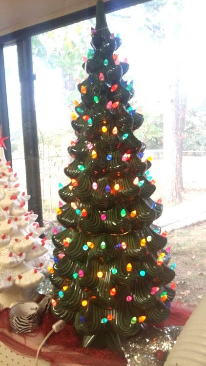 Ceramic Christmas Tree With Lights.35 Elegant Ceramic Christmas Tree In Green With Multi Bulbs