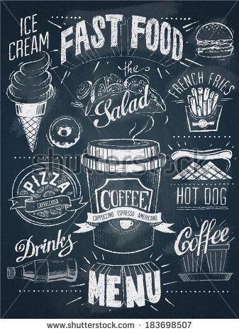 fast food chalkboard design set stock vector decor pinterest