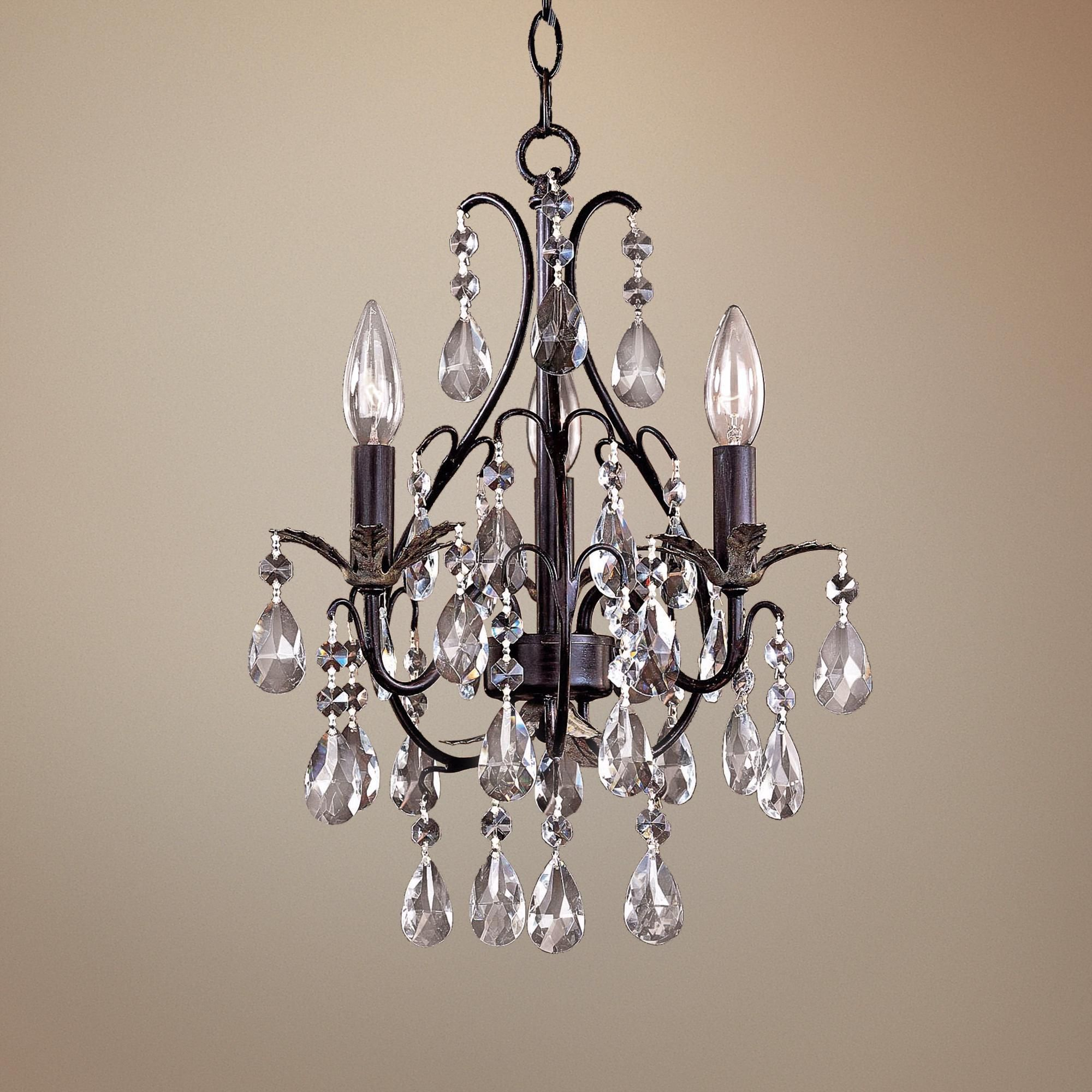 Small Simple Chandelier Castlewood Walnut Silver Finish 3 Light Mini Chandelier 83484