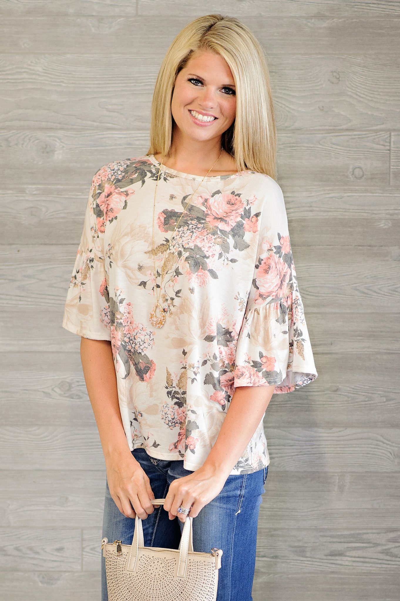 * Sana Floral Top With Bell Sleeve - Ivory
