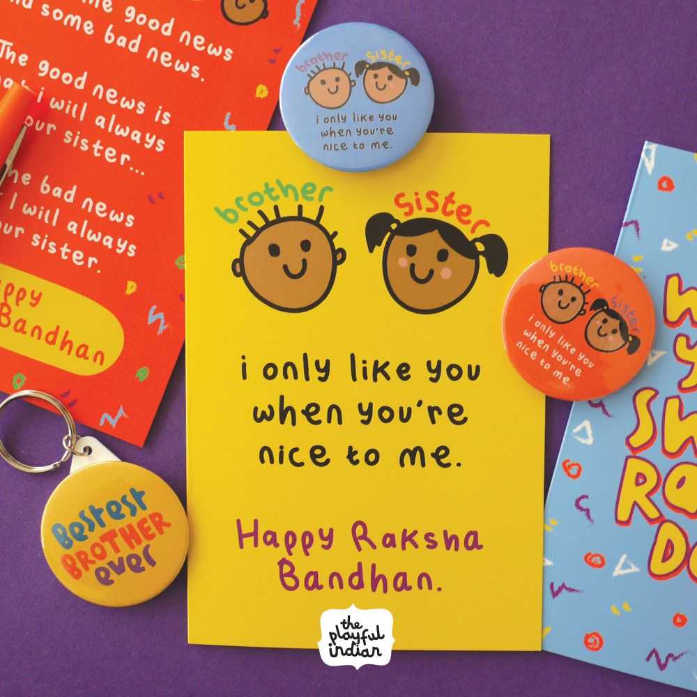 Cute And Funny Raksha Bandhan Card We As Sisters Know How Mean Brothers Can Be But At The End We Raksha Bandhan Cards Diy Rakhi Cards Rakhi Gifts For Sister