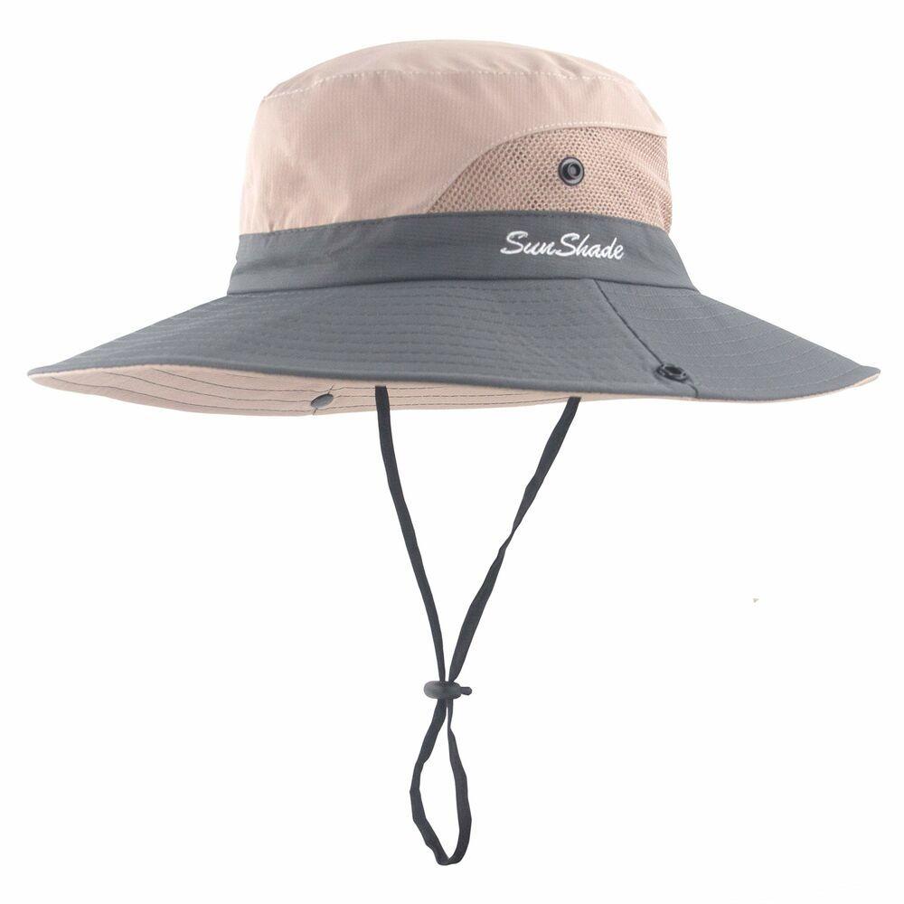 ddabfbd04c462 Women Outdoor Sun Hat UV Protection Wide Brim Mesh Foldable Safari Beach  Fish.