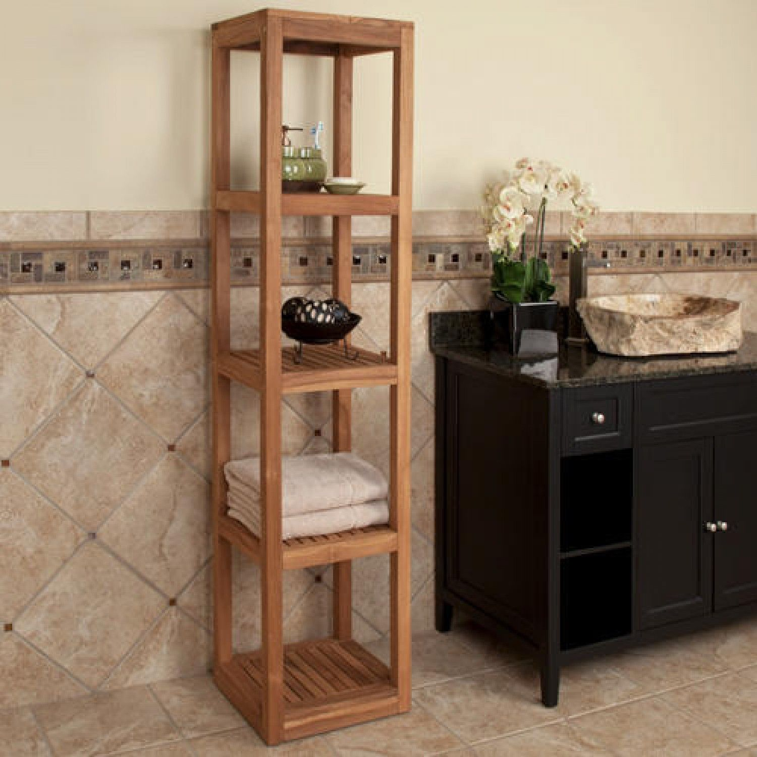 Five Tiered Teak Towel Tower | Teak, Towels and Bathroom inspiration
