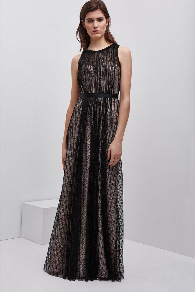 vestido largo con encaje superpuesto | vestidos fiesta | pinterest