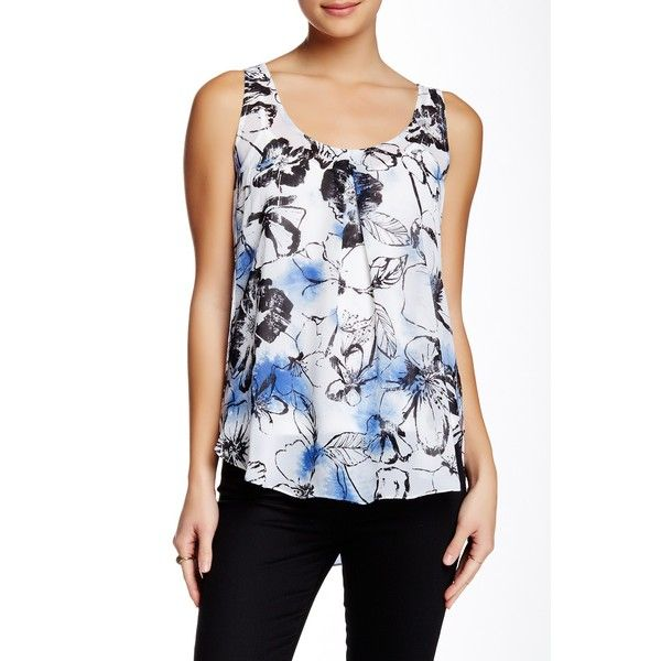 039567a105b679 DKNY Tropical Floral Print Tank ($40) ❤ liked on Polyvore featuring tops,  white, white tank, sleeveless tank, scoop neck tank top, leopard print tank  top ...
