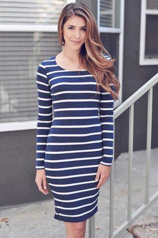 Long Sleeve Striped Dress-Navy