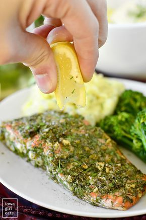 Herb and Caper Crusted Salmon is a light and healthy gluten-free dinner that takes just 20 minutes start to finish!   iowagirleats.com