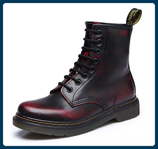 uBeauty Damen Martin Stiefel Flache Boots Klassischer Stiefeletten Schnüren Freizeitschuhe Rot 39 EU A9zKRJ