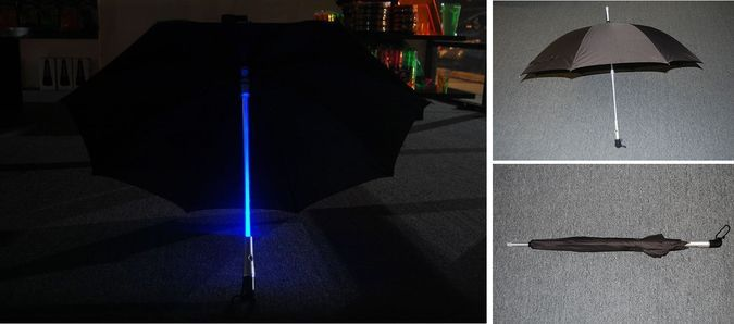 Zont Bluw LED Umbrella - Night Lighted View Day View (Opened And Closed) http://coolpile.com/gadgets-magazine/blue-led-umbrella via coolpile.com  #Cool #Design #Gifts #LED #RoadSafety #Safety #Style #Umbrellas #coolpile