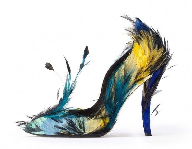 Zapato realizado por la casa Roger Vivie , Pájaros del paraíso.