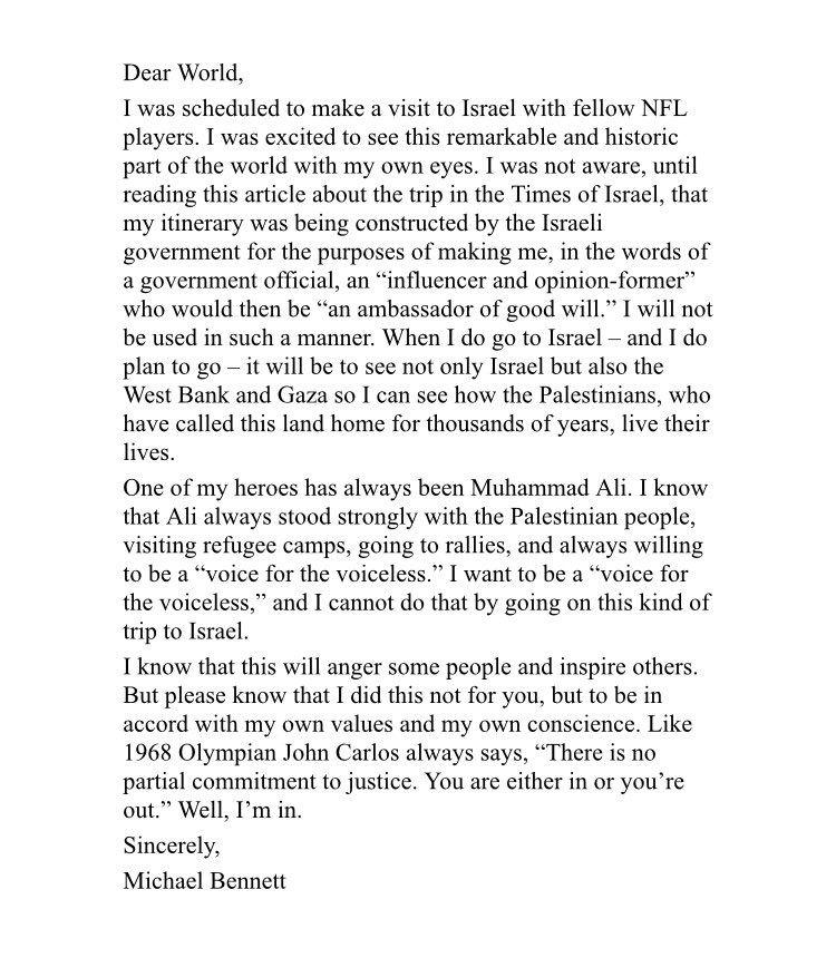 Dear World letter from Michael Bennett Seattle Seahawks defensive - commitment letter