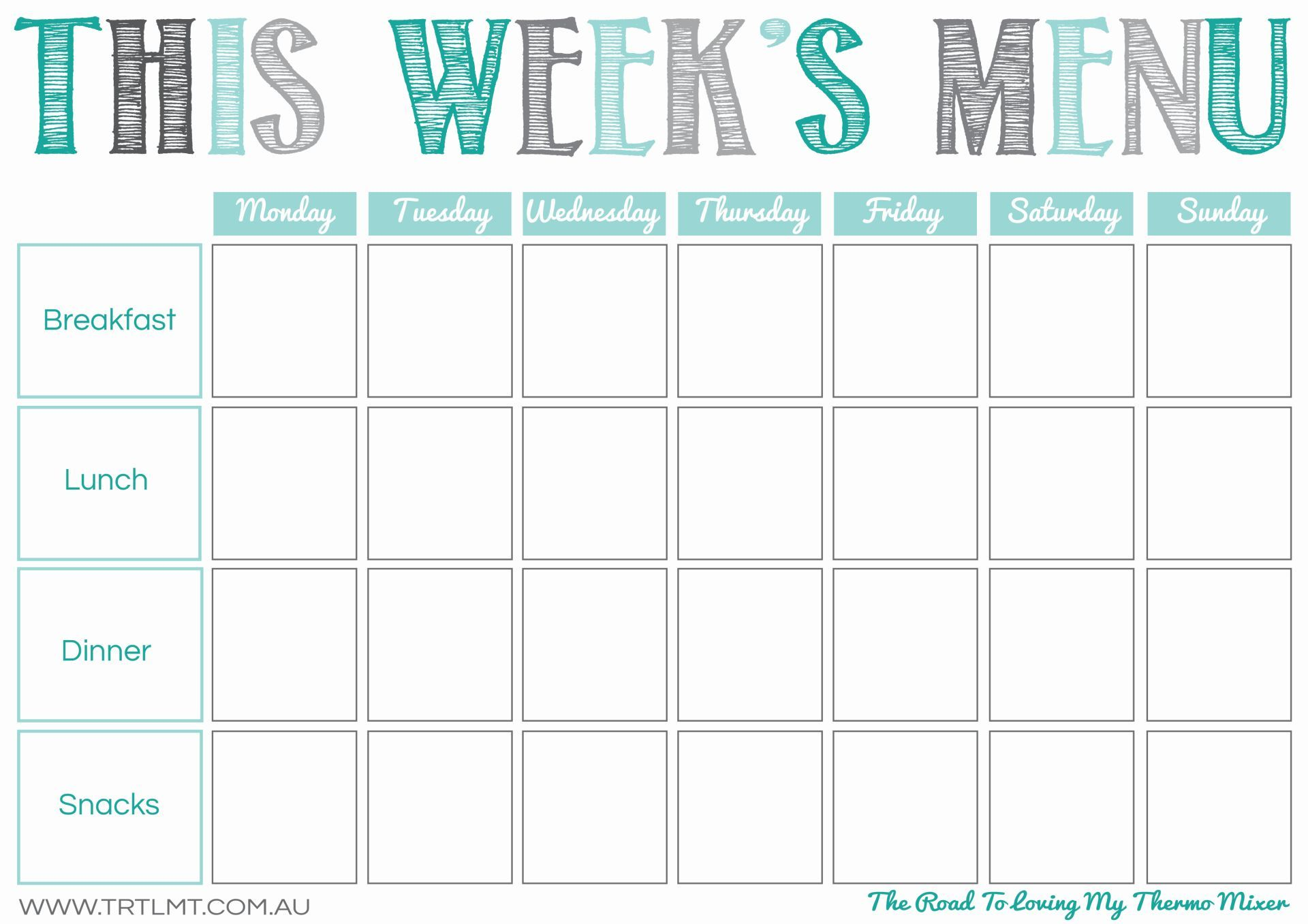 This Week's Menu 2 FB Meal planning printable, Meal