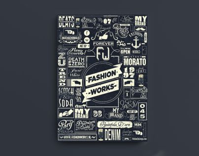 Promo campaign for 'Fashion Works' early 2013.A typographic illustration of all the brands that are available in the Fashion Works stores, inspired by the old '20s Italian look and feel. The design is a mix of type and hand-lettering.