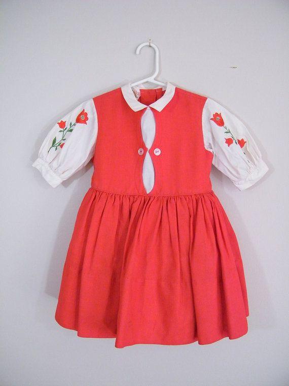 f511aa719be Vintage 1950s Girls Dress   Red Tulips   Full Skirt with Crinoline   Size 4    Little Dutch Girl