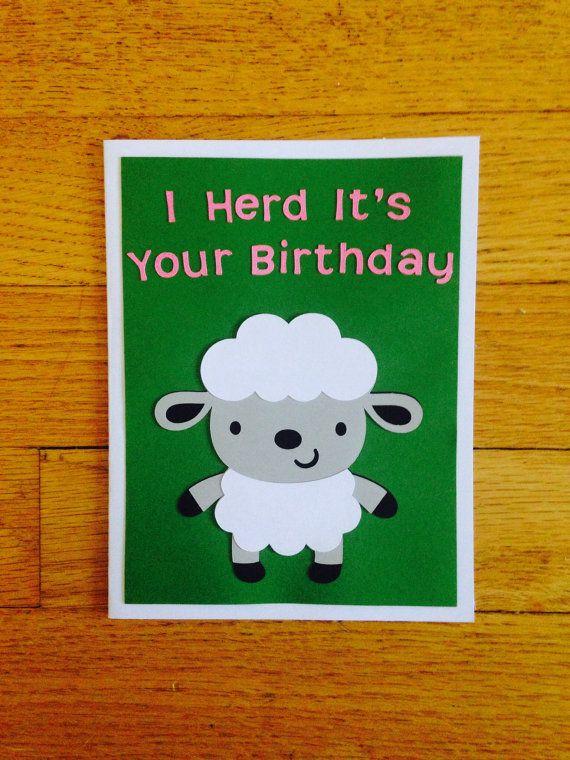 Sheep Birthday Card I Herd Its Your Birthday Happy Birthday