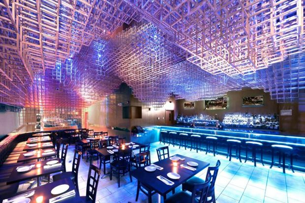 Innuendo Restaurant Ceiling Installation By Bluarch Interior DesignRestaurant