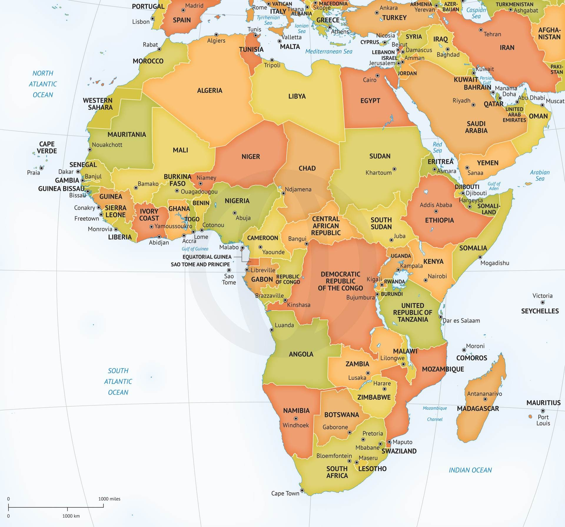 Vector Map of Africa Continent Political  Africa continent