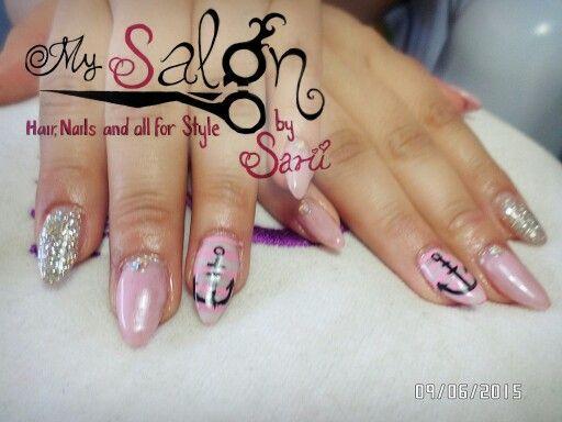uas acrlicas punta koreana rosa pastel plata y blanco