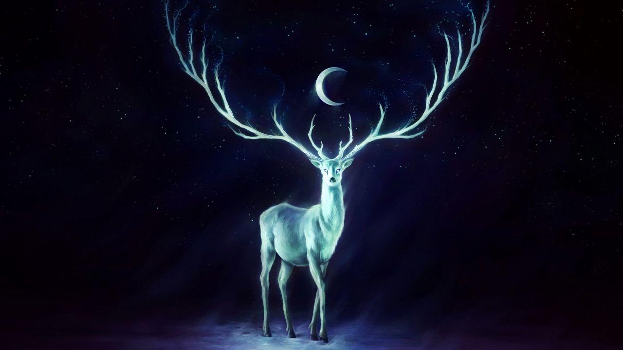 A Male Deer Deer Painting Deer Wallpaper Fine Art Giclee Prints