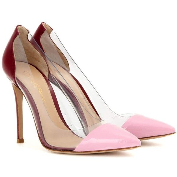 Gianvito Rossi Leather and Transparent Pumps (€610) ❤ liked on Polyvore featuring shoes, pumps, heels, pink, real leather shoes, leather footwear, gianvito rossi, see-through shoes and transparent shoes