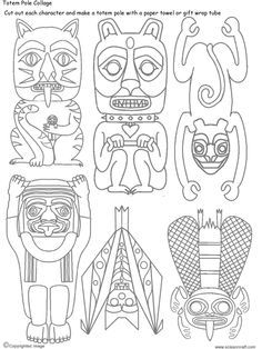 Mar 25 How to Draw a Totem Pole | Totems, Collage and Art lessons