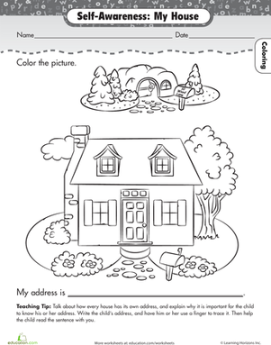 About Me My House Worksheets Kindergarten and Learning