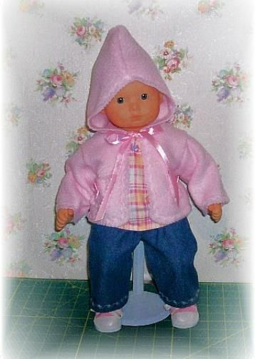 Bitty Baby jean, flannel shirt and hooded sweater jacket outfit...