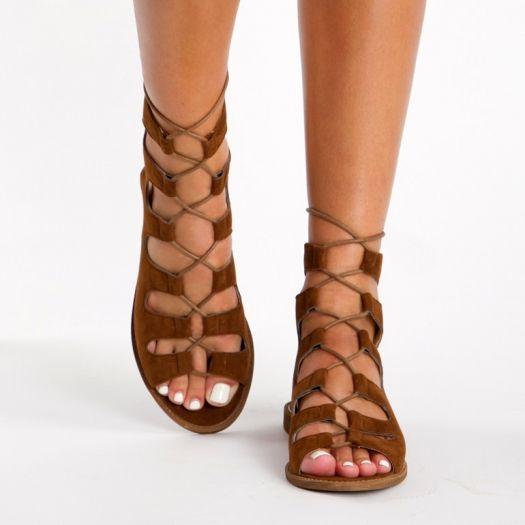 4de7a3593 DeeZee - Spartiates en daim lacées | Chaussures femme | Sandales ...