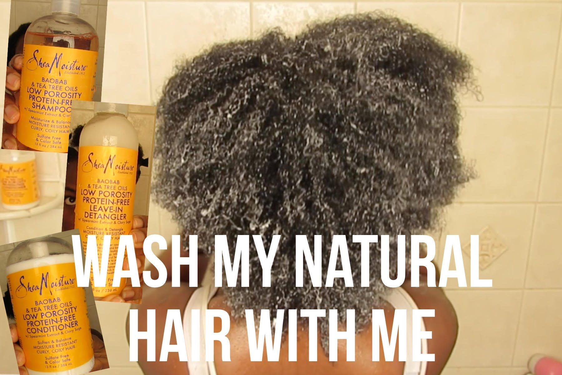 Wash My Natural Hair With Me ft SheaMoisture Low Porosity | KinkyCurlyCo...