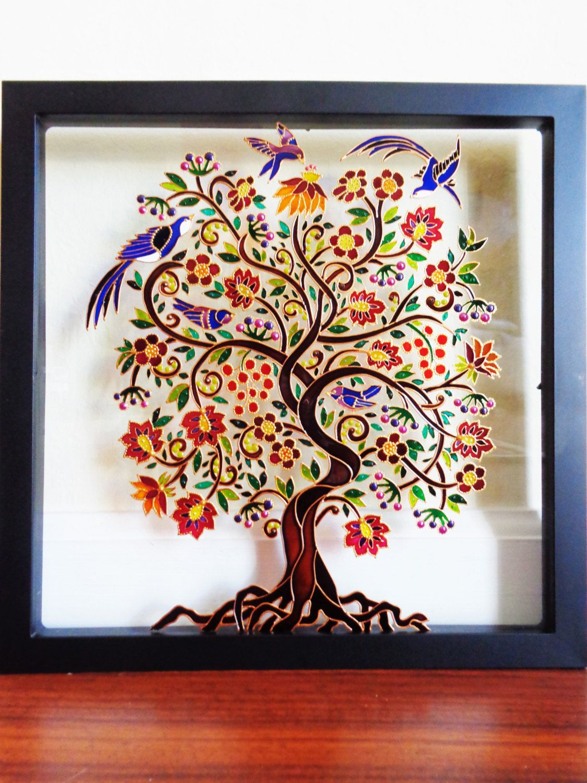 Tree Of Life Art 15 X15 Glass Painting Glass Art Wall Decor Bohemian Decor Glass Painting Patterns Glass Painting Designs Glass Painting