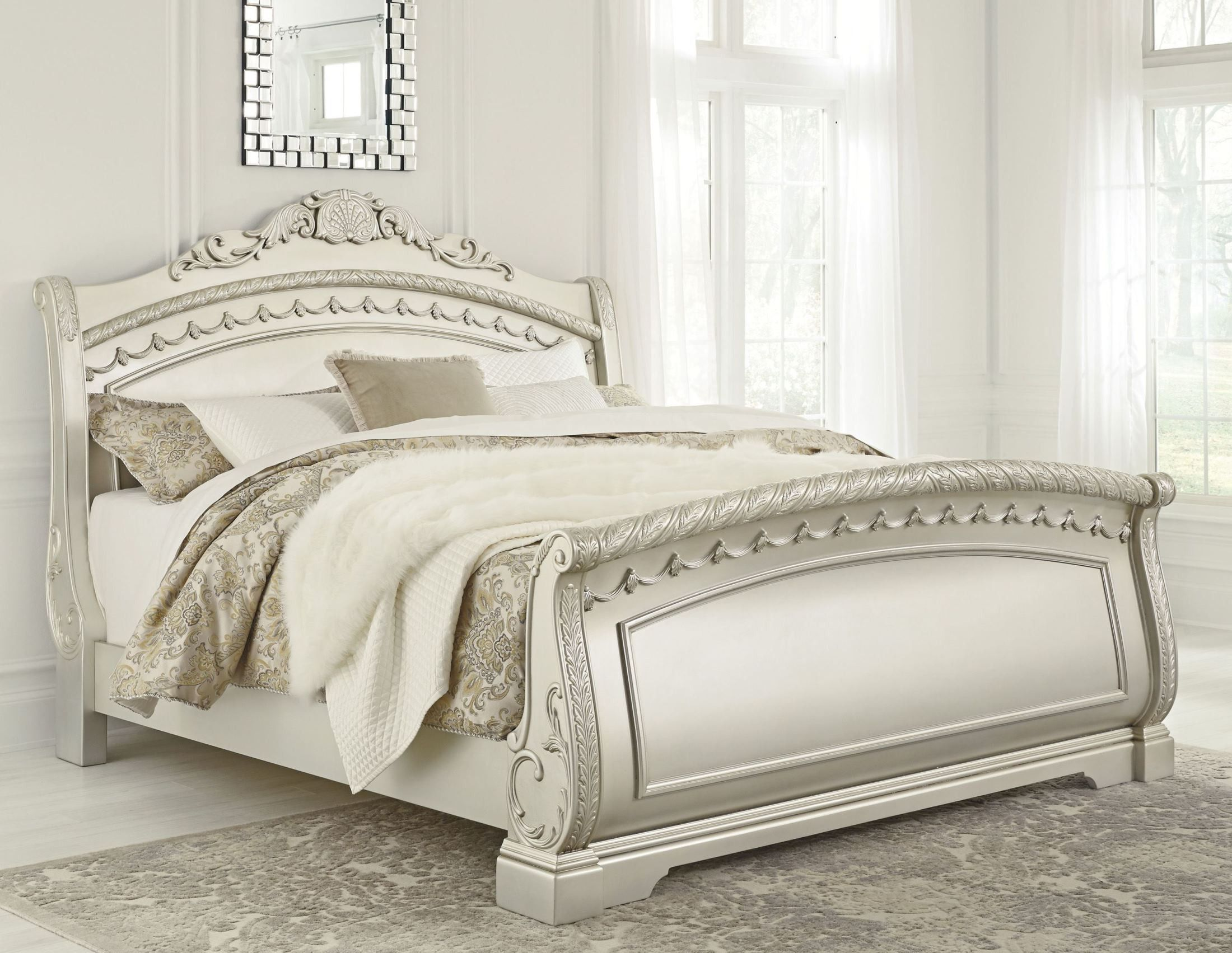 Cassimore North Shore Pearl Silver Sleigh Bedroom Set 2 Queen Sleigh Bed Bedroom Decor