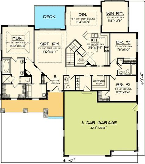 Plan 89852ah Craftsman Ranch With Sunroom Craftsman Style House Plans Ranch Style House Plans House Plans And More