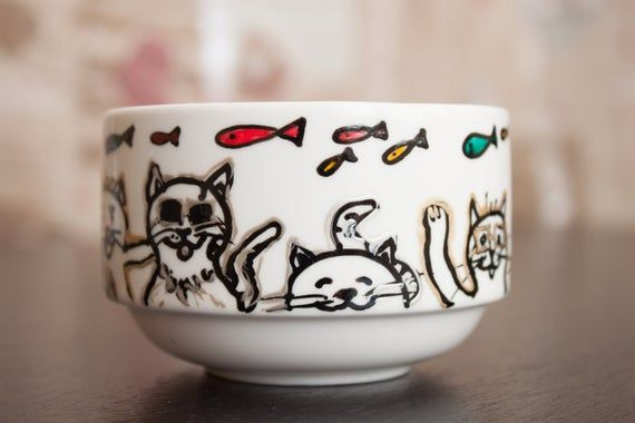 Cat, cats coffee mug, cup, party cats, fun, fish