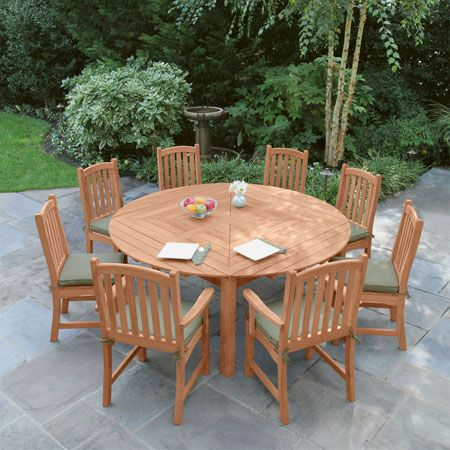Snowdon 6 Ft Round Teak Extension Table Extension Dining Tables Country Casual Round Patio Table Teak Dining Table Outdoor Dining Table