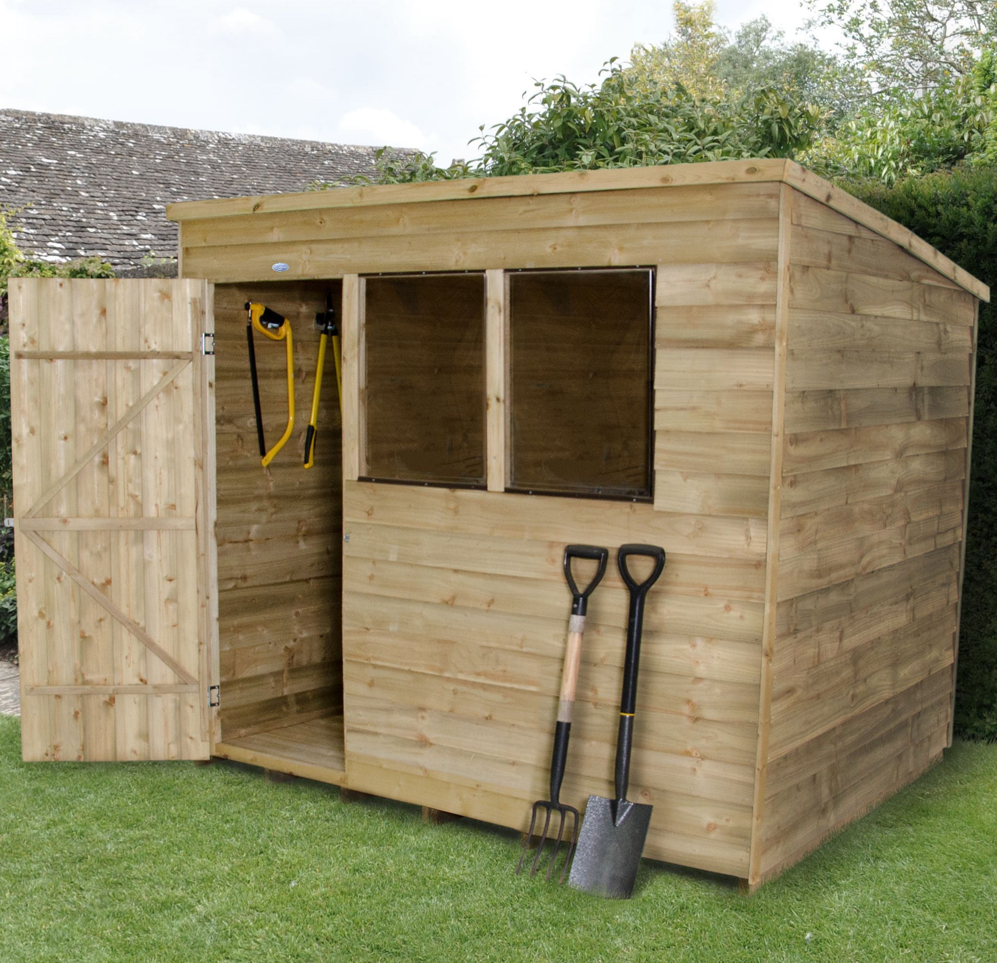 8X6 Pent Overlap Wooden Shed With Assembly Service 640 x 480