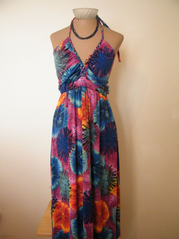 Vivid Floral 70's style Halter dress by Hypnotik by GlamourGoneBy