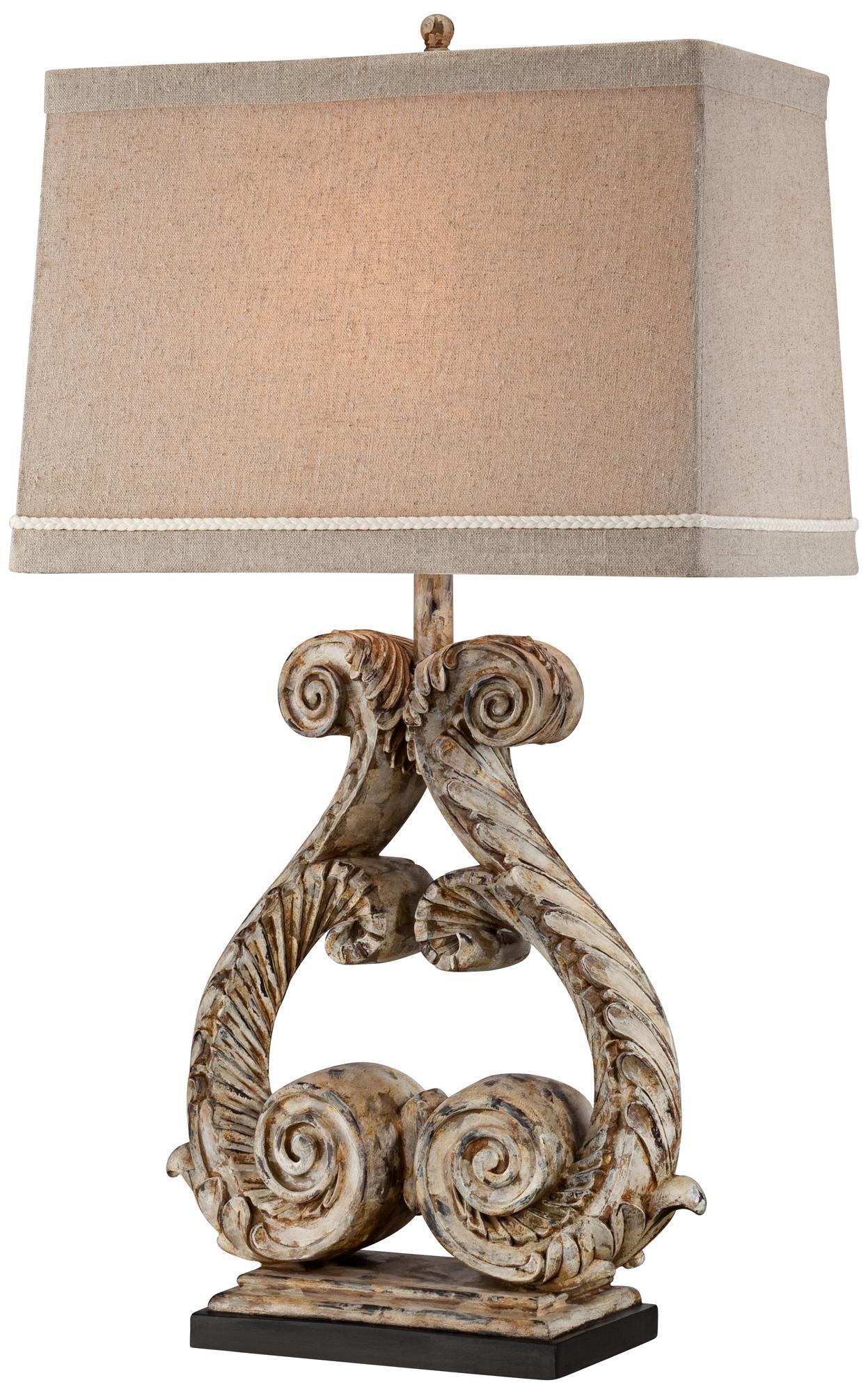 Possini Harp Weathered Double Scroll Table Lamp | LampsPlus.com