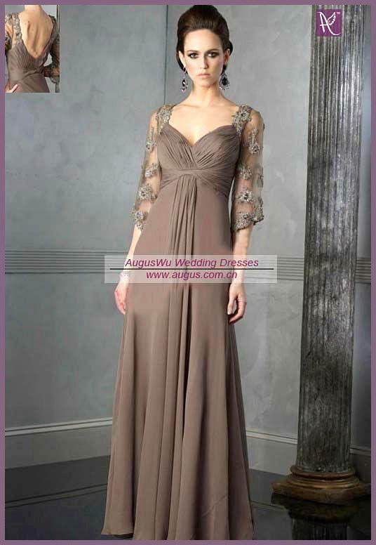 ael0198 grey gasa vestido de noche la madre de la novia vestidos largos con mangas-