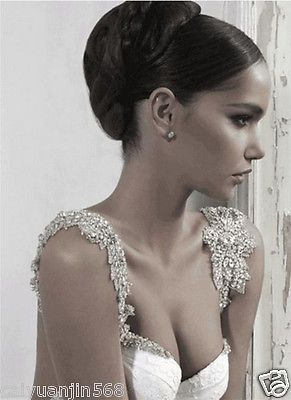 2015 Sparkling Mermaid Wedding Dresses Crystal Beads Sexy Open Back Bridal Gown