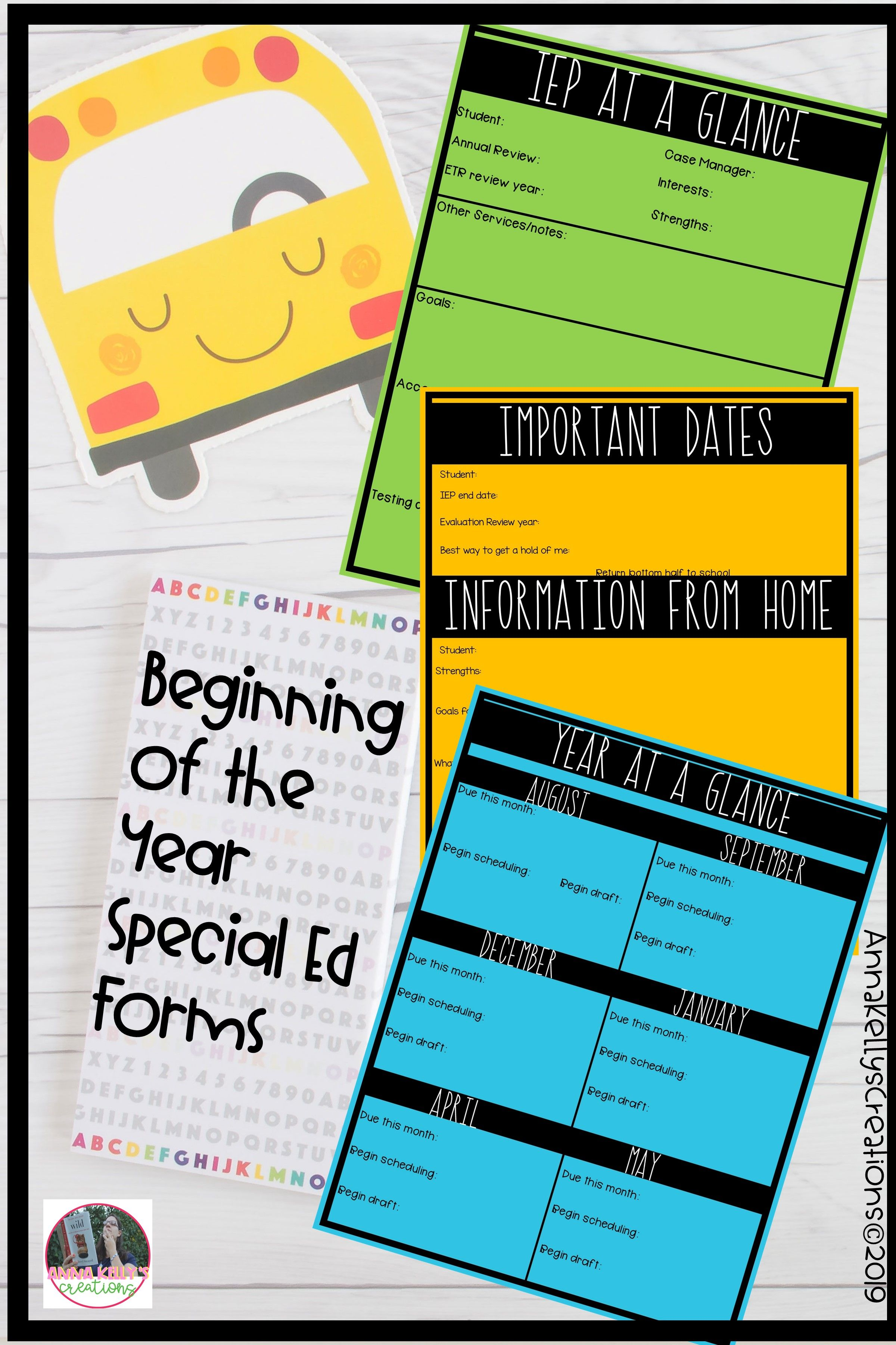 Beginning Of The Year Special Ed Forms Iep At A Glance