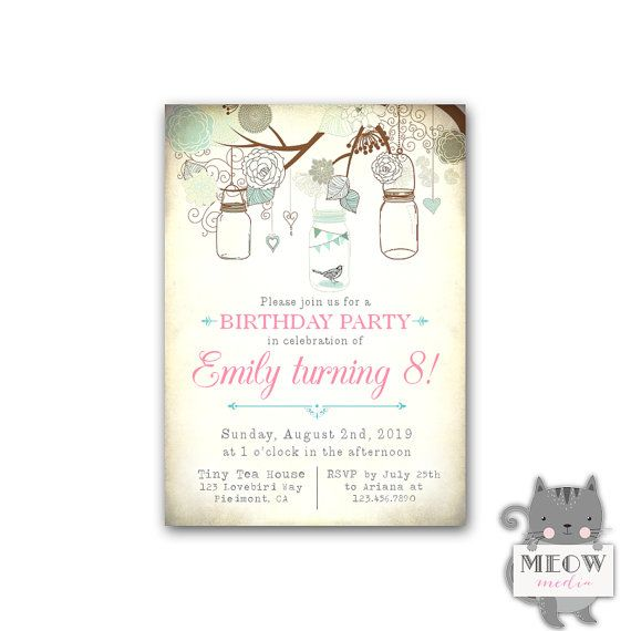 8th Birthday Invitations Mason Jar Invites Little Bird 8 Years Old Or Any Ag