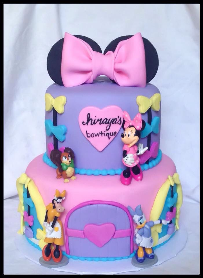 Admirable Minnie Mouse Minnies Bowtique Cake Gwenns 1St Birthday Party Personalised Birthday Cards Vishlily Jamesorg
