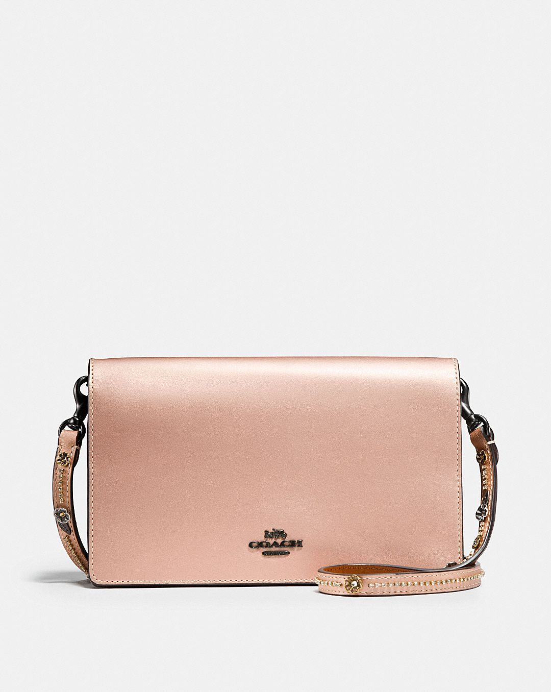 0a7477be6134f FOLDOVER CHAIN CLUTCH WITH TEA ROSE