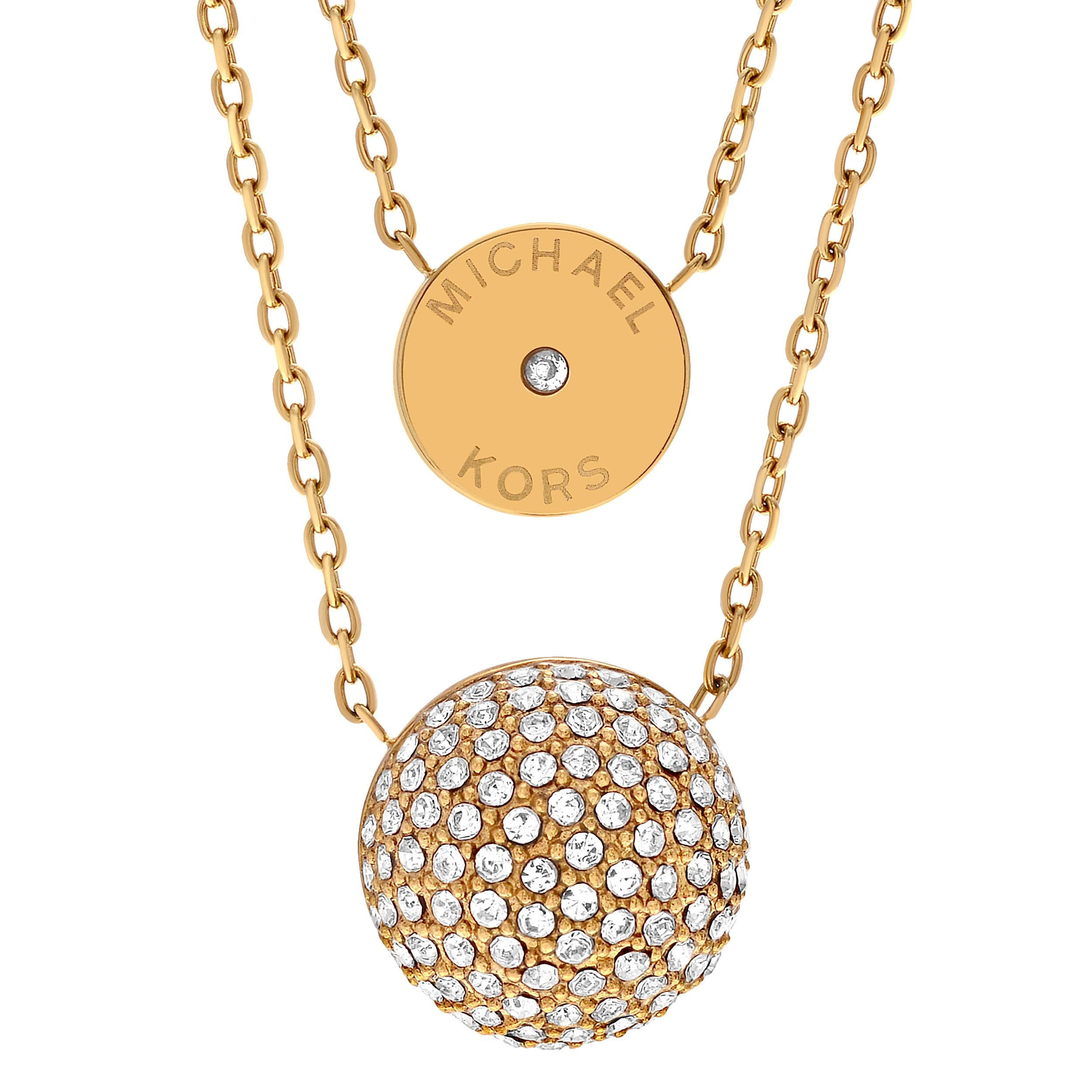 Michael Kors Goldtone Stainless Steel Crystal Accent Dual Chain Necklace (Gold), Size 18 Inch