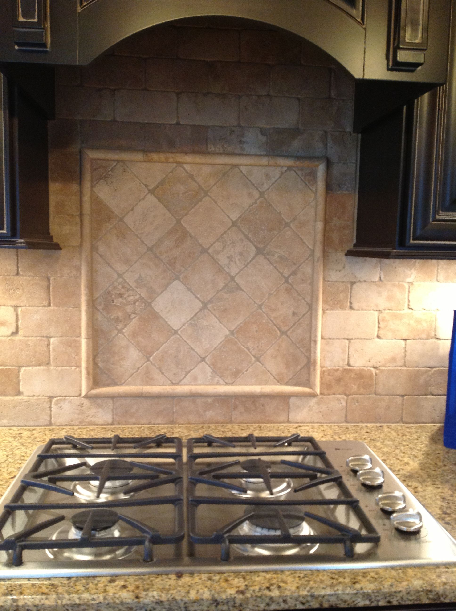 Tumbled Stone 3x6 Backsplash With Cooktop Accent On